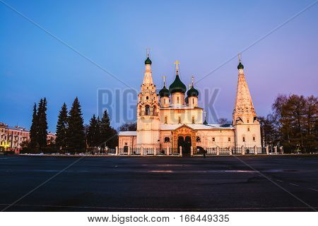 Yaroslavl, Russia. Church of Elijah the Prophet in Yaroslavl, Russia with sunset colorful sky. It is a famous landmark in the city located at the Soviet square.