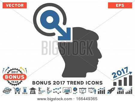 Cobalt And Gray Brain Interface Plug-In icon with bonus 2017 trend design elements. Vector illustration style is flat iconic bicolor symbols, white background.