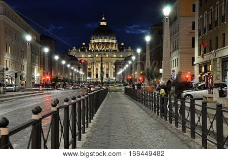 The San Pietro Basilica In Vatican At Night