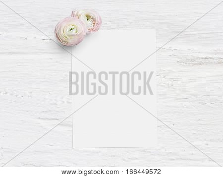 Styled stock photo. Feminine digital product mockup with uttercup flowers, Ranunculus, blank list of paper and shabby white background. Flat lay, top view, picture for blog or social media.
