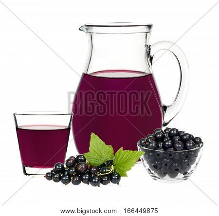 Currant Drink In A Glass And A Decanter With Berries Currants