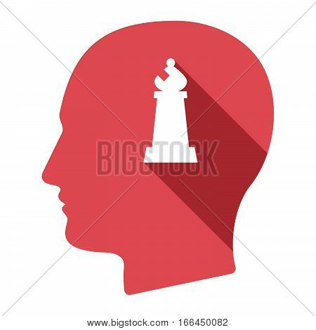 Isolated Male Head With A Bishop    Chess Figure