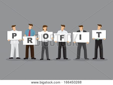 A group of business professionals holding sign cards with alphabets to form word Profit. Cartoon vector illustration on business profitability by working as a team concept.