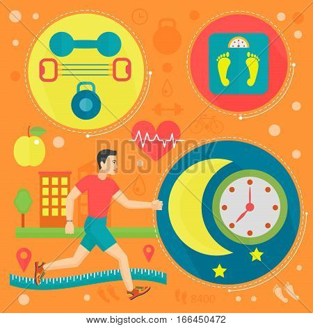 Healthy life flat concept vector illustration. Sport, fitness gym and healthy food icos design, web elements, poster banners