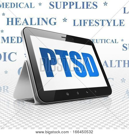 Health concept: Tablet Computer with  blue text PTSD on display,  Tag Cloud background, 3D rendering