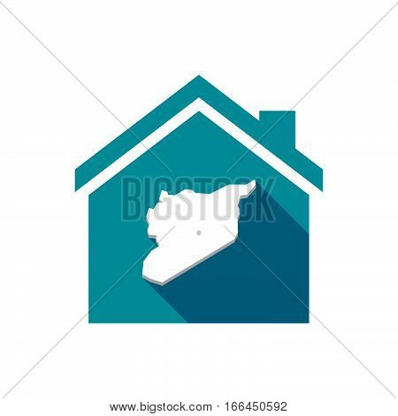 Isolated House With  The Map Of Syria