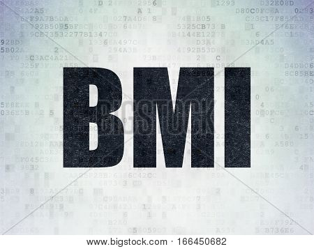 Health concept: Painted black word BMI on Digital Data Paper background