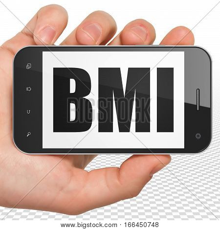 Medicine concept: Hand Holding Smartphone with black text BMI on display, 3D rendering