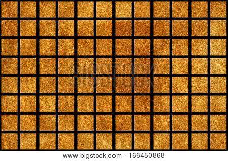 Golden Squares On Black Background.