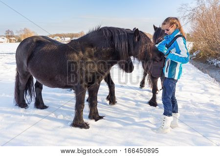 Caucasian woman petting black frisian horse in winter snow