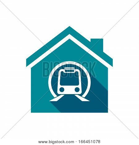 Isolated House With  A Subway Train Icon