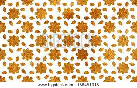 Golden Flowers With Leaves On White Background.