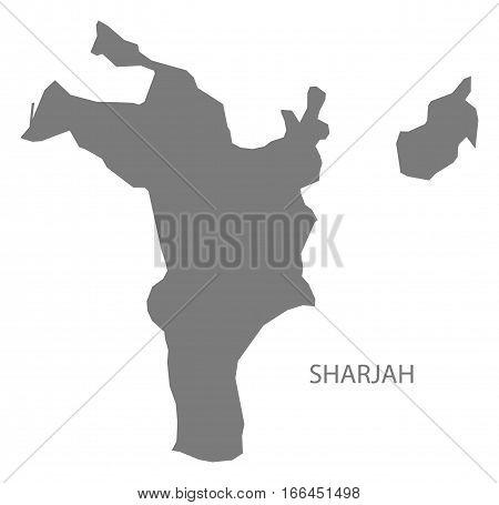 Sharjah United Arab Emirates Map Grey