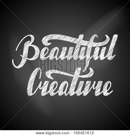 Hand written retro lettering Beautiful creature made in vector. Vintage letters design with cute stars. Postcard, greeting card, poster, t-shirt design apparel.