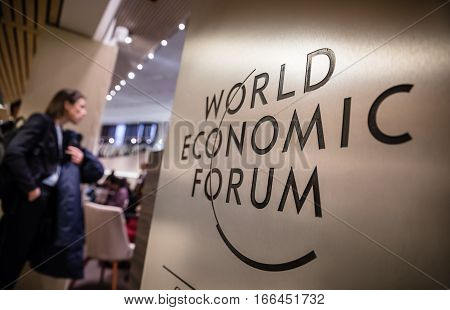 Emblem Of The World Economic Forum In Davos