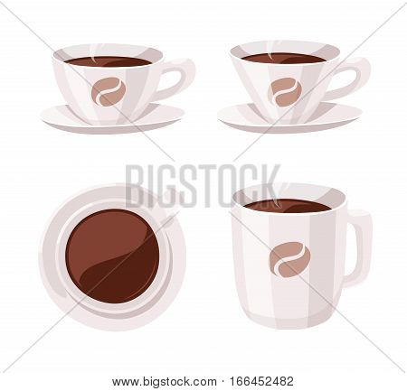 Set of Cartoon Style Cup. Vector Illustration Hand Drawn Caffeine Drinks. Hot and Fresh Black Coffee