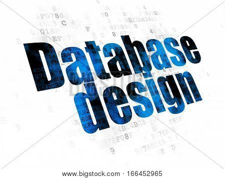 Database concept: Pixelated blue text Database Design on Digital background