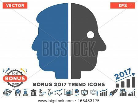 Cobalt And Gray Dual Face pictograph with bonus 2017 year trend icon set. Vector illustration style is flat iconic bicolor symbols, white background.