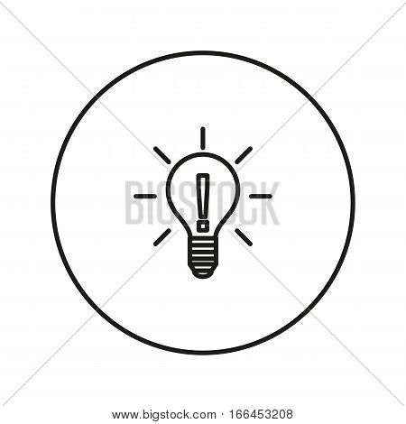 Light bulb. Exclamation point. Idea. Icon for web and mobile application. Vector illustration on a white background. Line