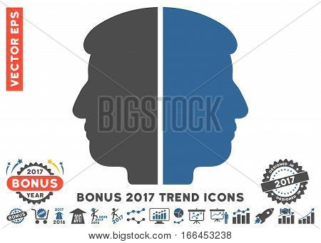 Cobalt And Gray Dual Face pictograph with bonus 2017 year trend elements. Vector illustration style is flat iconic bicolor symbols, white background.