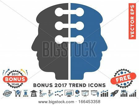 Cobalt And Gray Dual Head Interface pictogram with bonus 2017 year trend design elements. Vector illustration style is flat iconic bicolor symbols, white background.