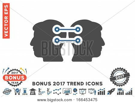 Cobalt And Gray Dual Heads Interface Connection icon with bonus 2017 trend images. Vector illustration style is flat iconic bicolor symbols, white background.