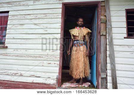 Indigenous Fijian Man Dressed In Traditional Fijian Costume