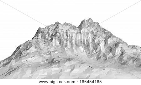 White abstract polygonal mountain. 3D Illustration. Isolated on white