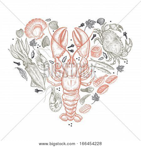 Seafood heart. Vector illustration art set. Hand drawing of sea animals black and red on white background. For decoration menu posters covers advertising of Valentine's Day. Vintage engraving