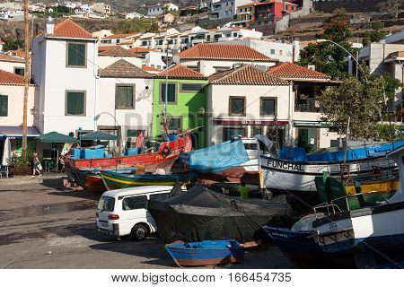 CAMARA DE LOBOS, MADEIRA, PORTUGAL - SEPTEMBER 5, 2016: Fishing boats in Camara de Lobos Madeira Islands Portugal
