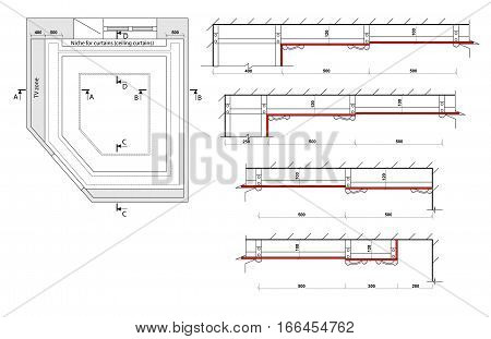 Detailed architectural plan. Multilevel ceiling. Architecture background. Vector Eps 10 illustration