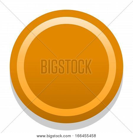 Quick and easy recolorable shape isolated on background. Orange empty icon in flat style. Colored satin simple soft circle button with dark shadow. Vector illustration a graphic element for design.