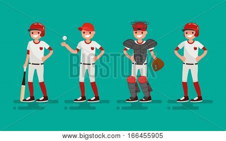 Basketball team. Batter Pitcher Catcher Runner . Vector illustration of a flat design