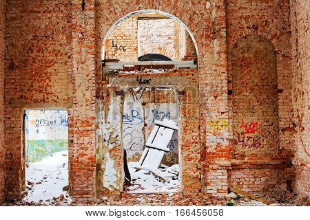 Odessa, Ukraine - 11 March 2013: Old Building Falling Apart With Broken Windows, Walls Covered With