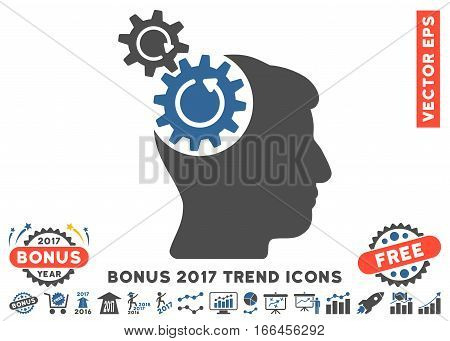 Cobalt And Gray Head Cogs Rotation icon with bonus 2017 trend clip art. Vector illustration style is flat iconic bicolor symbols, white background.