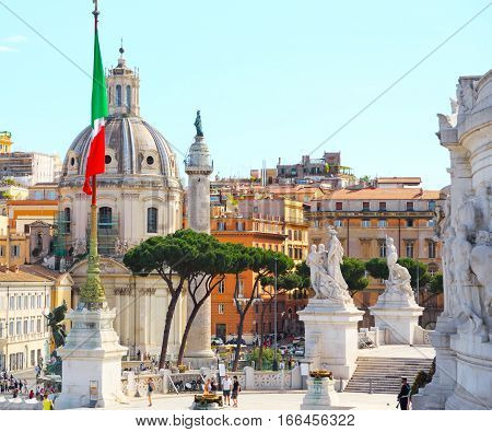 Italy. Rome. Piazza Traiano. Catholic Church Of The Holy Name Of Maria. (Chiesa Cattolica Del Santissimo Nome Di Maria Foro Traiano)
