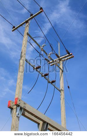 Voltage transformers on the street, Electricity post background