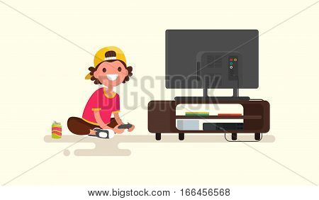Boy playing video games on a game console. Vector illustration of a flat design