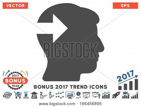 Cobalt And Gray Head Plug-In Arrow icon with bonus 2017 trend clip art. Vector illustration style is flat iconic bicolor symbols, white background.