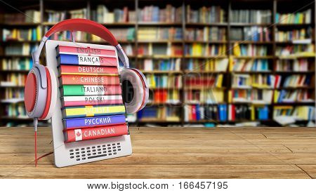 E-boock Learning Languages Online 3D Render In Library Success Knowlage Concept