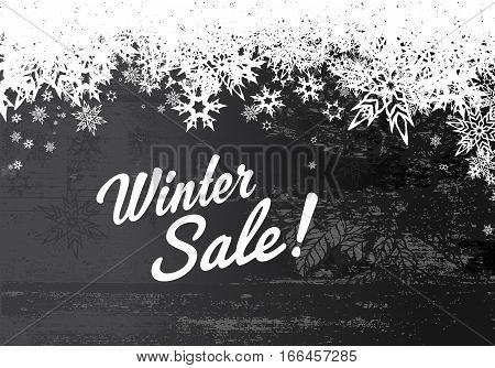 Winter sale illustration template with grey background and white snowflakes.