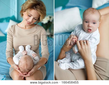 Collage of two photos,a happy mother,a blonde with shaggy hair,dressed in a dress of beige colors,sitting on a blue bed in a bedroom with blue walls,talking and playing with his newborn son,dressed in a white jumpsuit,put it on his lap