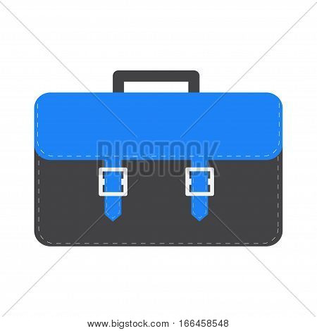 Big black and blue schoolbag briefcase icon. Isolated. White background. Flat design style. Vector illustration