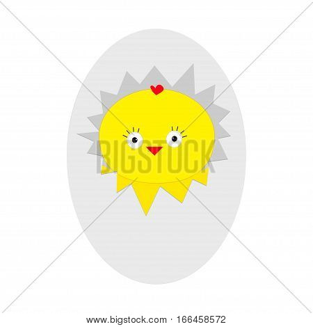 Easter baby chicken. Egg shell crack. Cute cartoon character. Farm animal collection. White background. Isolated. Flat design. Vector illustration