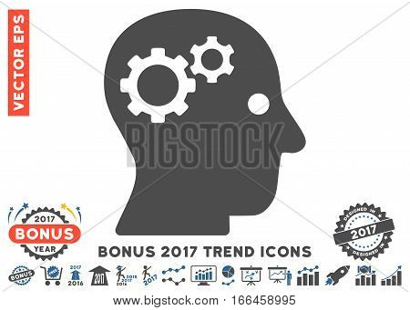 Cobalt And Gray Intellect Gears pictogram with bonus 2017 year trend images. Vector illustration style is flat iconic bicolor symbols, white background.