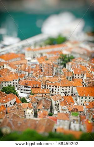 Kotor Old Town, Montenegro. Tilt-shift Miniature Effect