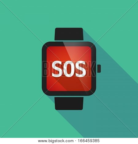 Long Shadow Smart Watch With    The Text Sos