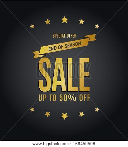Special Offer End of Season Sale Up to 50% Off golden calligraphic text.