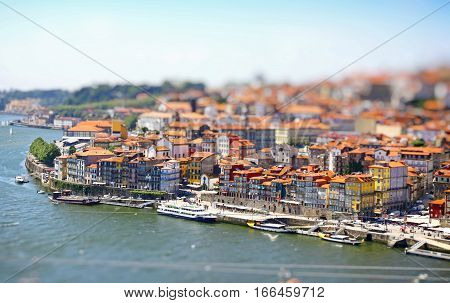 Aerial View Of Porto City, Portugal. Tilt-shift Miniature Effect
