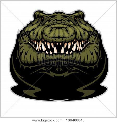 Angry Alligator Vector Mascot isolated on white